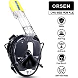 ORSEN Tauchmaske Vollgesichtsmaske, Easybreath Taucherbrille, Schnorchelmaske mit Ohrdruckausgleich Funktion, Action Kamerahaltung und Einheitsgrösse für Alle Erwachsene und Kinder