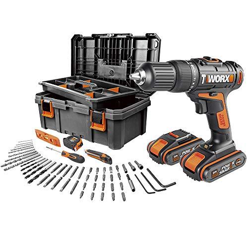 Worx WX371.5 Taladro Percutor 20V 2,0Ah 2bat + caja con 55 herramientas, Negro