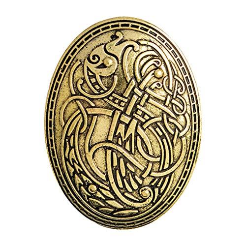 Mittelalterlichen Kostüm Muster Mädchen - Jixing Nordic Viking Wolf Muster Brosche Vintage Amulett Abzeichen für Geschenk, Gold, L * W 5,8 * 4,2 cm