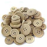 50pcs Boutons En Bois Ronds Couleur Naturel Taille Mixte 15/20/25mm Pour DIY Artisanat