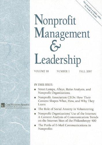 Nonprofit Management & Leadership, Volume 18, Number 1, Fall 2007: Fall 2007 v. 18, No. 1 (J-B NML Single Issue Nonprofit Management & Leadership)