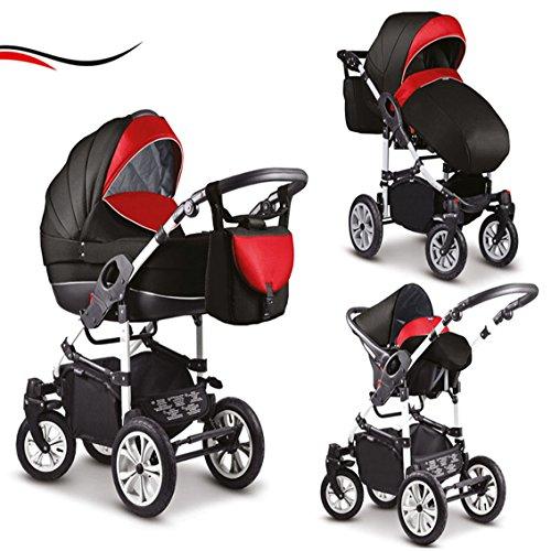 """16 teiliges Qualitäts-Kinderwagenset-Reisesystem 3 in 1\""""COSMO\"""" in 41 Farben: Kinderwagen + Buggy + Autokindersitz + Schwenkräder - Mega-Ausstattung - in Farbe (C-0020) SCHWARZ-RED"""
