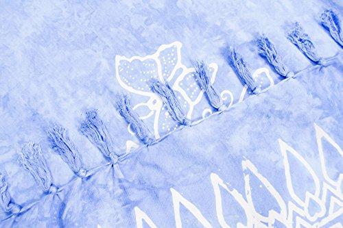 ManuMar Damen Sarong   Pareo Strandtuch   Leichtes Wickeltuch mit Fransen-Quasten 155x115cm oder 225x115cm, Motive und Farben hell-blau Schmetterling