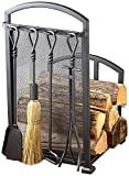 Lizh Metalwork® Fireplace Log rack e attrezzi da camino in ferro battuto con 4strumenti, indoor outdoor Backyard caminetto porta legna da ardere Lumber Storage impilabile per legna da ardere Log Bin, colore: Nero opaco
