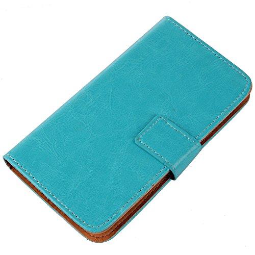 """Gukas 3in1 Set Bleu Design PU Leather Cuir Case Pour THL T6 T6S T6C T6Pro 5.0"""" Housse Coque Cover Etui Flip Protection Portefeuille Wallet Tactiles Capacitif Stylet Stylo Touch Pen Stylus Film Verre T Bleu"""