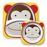 Skip Hop - Juego de cuenco y plato con compartimentos de melamina con diseño de mono