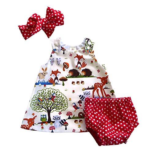 Carolilly Neugeborenes Baby Mädchen Niedlich Ärmellose Top Kleider +Polka Dots Bloomers/Shorts Outfits Set Kleidung Set (0-6 Monate, Cartoon) -