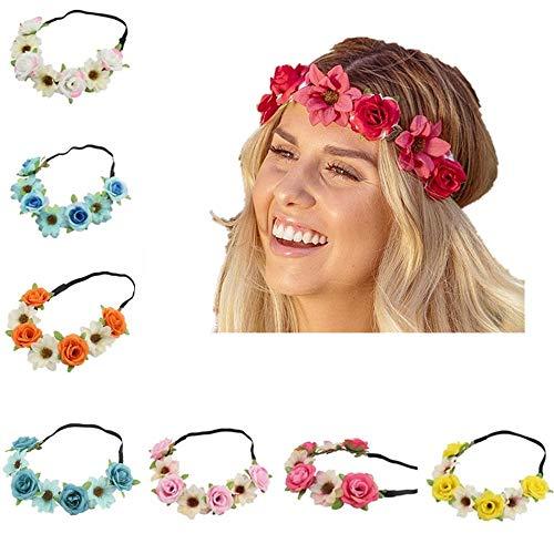 BJ-SHOP Stirnband Blumen,Blumenkranz Rose Hawaiian Luau Blume Seaside Flower Garland 8PCS