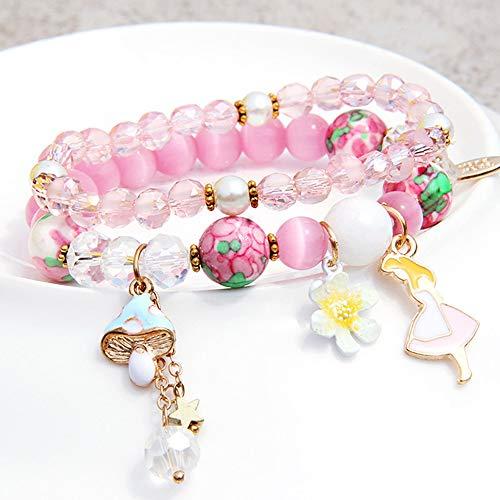 IkxjAoolerv Armband - Frauen Armband Multi-Layer Perlen Armband Kristall Armband, Freundin Geschenk Hand Ornament Lady junges Mädchen Beste Wahl Geschenk,P
