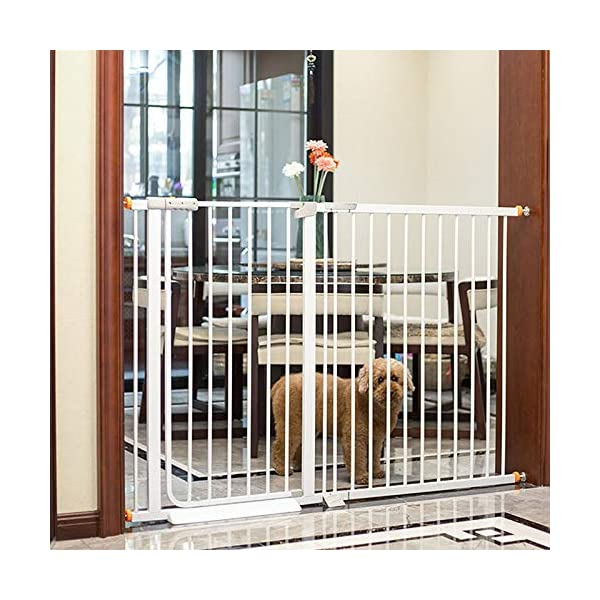 Auto Close White Stair Gate, Safety Gate Room Divider for Dog Pet Baby (Color : High 103cm, Size : 96-103cm) Huo WALL PROTECTION: Safety Gates For Kids or Pets With an extension from 61-215cm, this gate will fit in most doorways quickly and easily EASY TO INSTALL: the safety gate is fixed with four fixing screws by pressure, that means neither drilling or screws are necessary; DURABLE AND CONVENIENT: Tall Thru Gate Made with sturdy metal construction for the ultimate in durability, the play yard is easy to set up and take down. 5