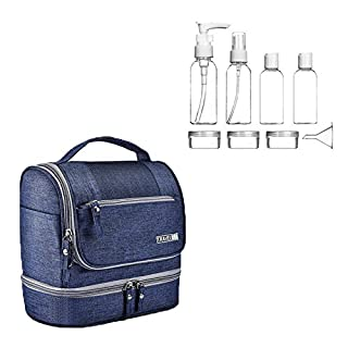 Travel Toiletry Cosmetic Wash Bag Hanging Make up Bag + Travel Bottle Set 8pcs,Digital Organiser Shaving dopp kit Bag with Extra Hook for Men & Women(Blue)
