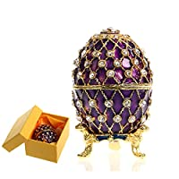 H&D Hand Painted Enameled Faberge Egg Style Decorative Hinged Jewelry Trinket Box,Style-6