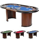 Pokertisch ROYAL FLUSH, 213 x 106 x75 cm, FARBWAHL, Gewicht 58kg, 9 Getränkehalter, gepolsterte...