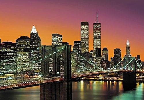 Papier peint non-tissé New York City photo, papier peint, non-tissé, non-woven, grand format 366x254 cm, ville, New York, États-Unis, USA, Brooklyn Bridge, nuit, by night, fleuve, gratte-ciel, Twin Towers, lumières, coloré, rouge, grat