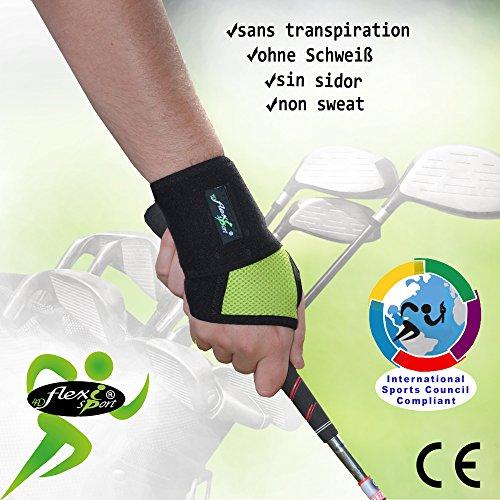 Handgelenkbandage für Golfer, schweißfrei, sitzt perfekt vom Daumen bis Handgelenk, stärkt Handgelenk und Griff, verbessert die Genauigkeit. Ungiftig, geruchlos, ohne Neopren/Latex. Einheitsgröße (Länge 36 cm), L/R Passform, Unisex. Einheitsgröße lime -