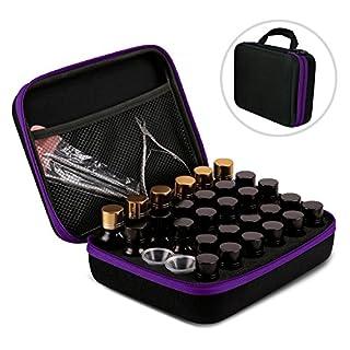 AKWOX Essential Oil Storage Case for 5ml /10 ml /15ml Bottles (Holds 30 Bottles), Essential Oil Traveling Carrying Case - Hard Box for Essential Oil Bottles Storage Purple
