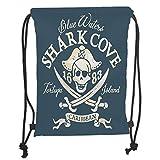 Icndpshorts Drawstring Backpacks Bags,Pirate,Shark Cove Tortuga Island Caribbean Waters Retro Jolly Roger,Slate Blue White Light Mustard Soft Satin,5 Liter Capacity,Adjustable String Closure,T