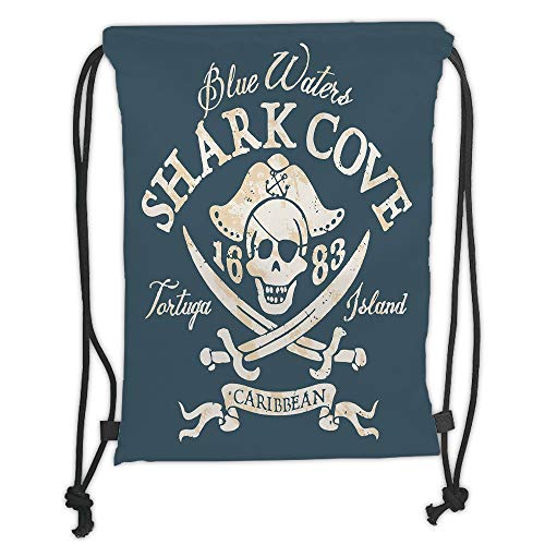Icndpshorts Drawstring Backpacks Bags,Pirate,Shark Cove Tortuga Island Caribbean Waters Retro Jolly Roger,Slate Blue White Light Mustard Soft Satin,5 Liter Capacity,Adjustable String ()