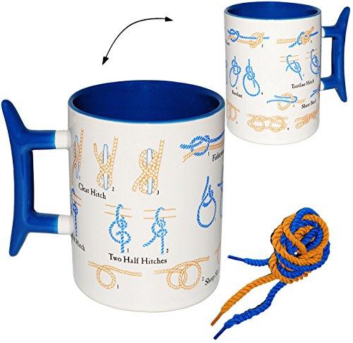 alles-meine.de GmbH Kaffeebecher / Henkeltasse -  Seemannsknoten & Knoten  - Tasse aus Porzellan / Keramik mit Anleitung - 400 ml - DIY - Trinktasse mit Henkel - Knobelspiel / ..