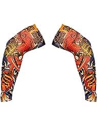 FLAMEER 1 Par De Falda Temporal Deslizamiento en Mangas de Brazo de Tatuaje Suave, Protección