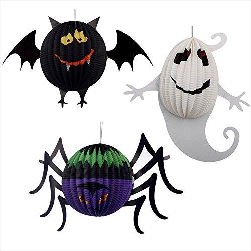 ternen, Spider Bat Ghost Hanging Pendant Halloween Dekorative Lampe für Halloween Party Bars Dekoration - S (Ghost Halloween Dekorationen)