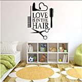 Wall Sticker 2019 Amore Hair Stylist Sticker Decal Asciugatrice Forbici Salon Sign Finestra Moto Camion Paraurti Porta Decalcomania Del Vinile Asciugacapelli O27