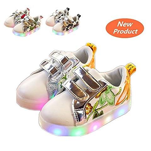 Chaussures Enfant, Chickwin LED Chaussures Lumineuse Bébé Enfant Unisexe Confortable Sneakers Clignotant LED Chaussures (21 / Mesure à l'intérieur (cm) 13, Orange)