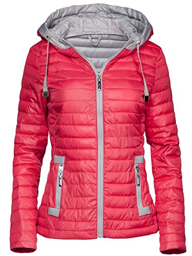 Trisens New Damen Jacke TAILLIERT ÜBERGANGSJACKE Kapuze GESTEPPT S-XXL, Farbe:Rot, Größe:L