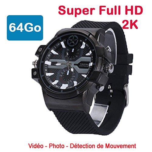 Cyber Express Electronics-Uhr mit Mini-Kamera, Spion 64GB 2K Super Full HD 2304x 1296P Bewegungserkennung CEL-DWF-74-64 Format-kamera-system