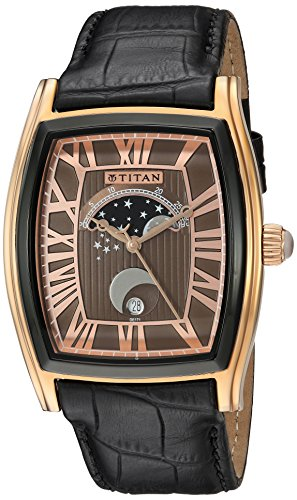 Titan Men's 'Celestial Time Moon Phase' Quartz Stainless Steel and Leather Automatic Watch, Color Brown (Model: 1661KL01)