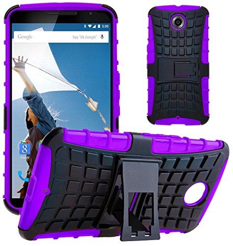 G-Shield Motorola Google Nexus 6 Hülle Silikon mit Ständer Stoßfest Schutzhülle Dünn Tasche Hybrid Armor Cover Case Etui Handyhülle mit Displayschutzfolie und Stylus - Lila