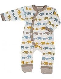 """Pigeon Organics for Kids Strampler Schlafanzug Bio-Baumwolle GOTS """"Elefanten multicolor"""", braun-grau-blau"""
