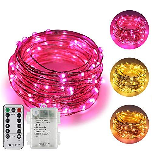 (Zweifarbige Led Lichterketten batteriebetriebene ER CHEN, 33 FT 100 Leds ändern dimmbar 8 Farbmodi Silbrig Kupfer Draht Lichterketten mit Fernbedienung TIMER für Indoor Outdoor Christmas (Warmweiß, Rosa))
