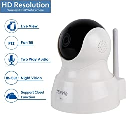D3D Tenvis Wireless HD IP WiFi CCTV Indoor Security Camera (Support Upto 128 GB SD Card) (White Color) Model:TH661