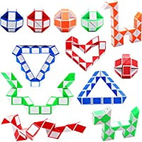 Sunshane 12 Pack 24 Blocks Magic Snake Cube, Mini Snake Speed Cubes, Twist Puzzle Toys for Kids Party Bag Fillers, Party Favours, Random Color