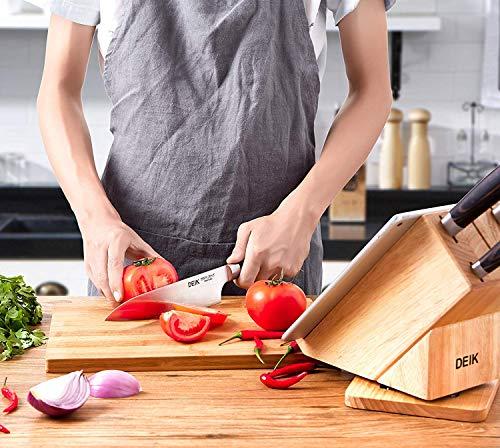 Deik Messerblock Set, Messerset, Kochmesser, Edelstahl, Ergonomischer Holz-Griff, drehbarer Holzblock - 9