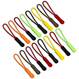 Tiradores de Extensión con Cremallera de 80 Piezas, 8 Colores, FineGood Etiqueta de Repuesto de Cordón de Nylon con Cremallera
