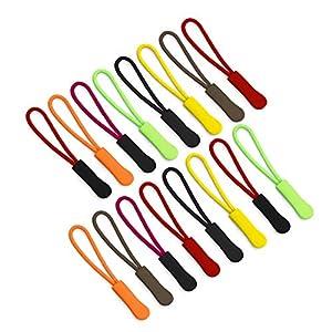 FineGood 80 Stück Reißverschlusszipper Zipper Anhänger Reißverschlussanhänger, 8 Farben, Nylon Cord Reißverschluss…