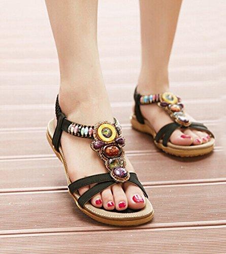 Zicac Damen Sandalen Böhmische Schuhe Sommer Sandalen Schwarz