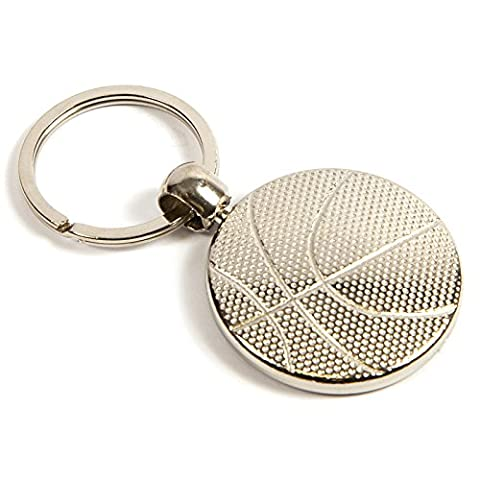 Blank Metal Basketball Keyring Printed Insert for Sports/Clubs/Partys & Gifts - Round Silver Plated Metallic 30mm MBK - Pack of 1