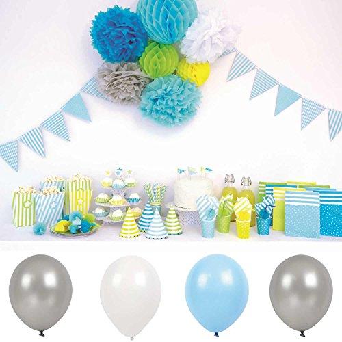LS JaBaDaBaDo 9 Luftballon Silber-Grau Weiss Blau Luftballons Geburtstag Party B2001 (Und Luftballons Blau-silber Weiße)