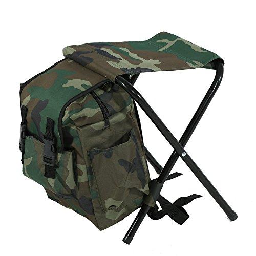 Asiento Plegable Portátil Taburete Plegable con Paquete de Mochila para Pesca Camping Viaje Picnic Excursiones