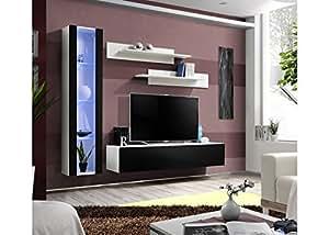MyMeubleDeco - Meuble de salon TV suspendu MATEO I 260 cm, Façade noir laquée