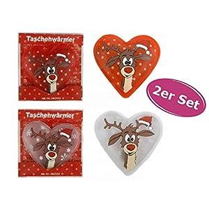2er Pack Taschenwärmer Rentier (tolles Wichtelgeschenk) Handwärmer