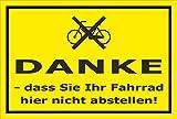 Melis Folienwerkstatt Schild - Danke - Fahrrad nicht abstellen - 15x10cm mit Bohrlöchern | stabile 3mm starke PVC Hartschaumplatte – S00050-016-C +++ in 20 Varianten erhältlich