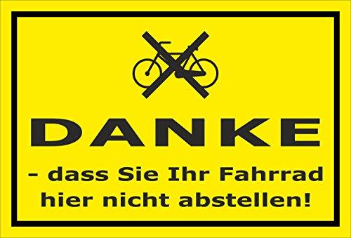 Melis Folienwerkstatt Schild - Fahrrad abstellen - 15x10cm   Bohrlöcher   3mm Hartschaum - S00050-016-C -20 Varianten