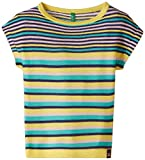 United Colors of Benetton Girls' T-Shirt (15A12BLF1320G902_Yellow, Peach and Blue Stripe_L)
