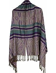 MZMZ ULTRA apretado el cuello de algodón BMBAI cálidas mujeres mantón retro de invierno una bufanda flor de anacardo, canteado púrpura
