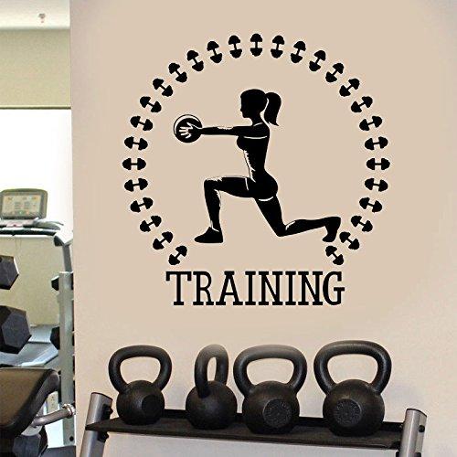 Training Gym Sport mädchen Fitness Aufkleber kinderzimmer familiendekoration hantel Vinyl wandaufkleber Kunst wandbilder abnehmbare 57 * 58 cm