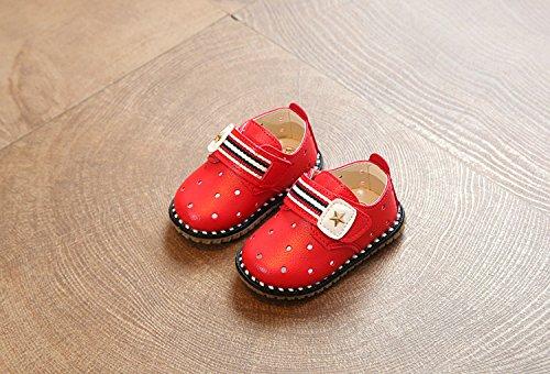 Gaorui Babys Mädchen Lauflernschuhe Krabbelschuhe Babyhausschuhe mit Stern Rot